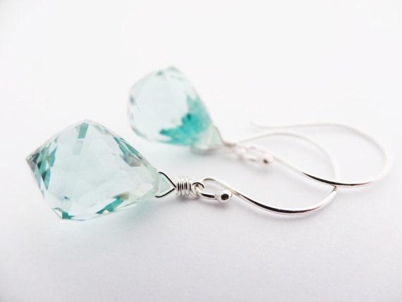 SALE Aqua Earrings for women sea green faceted quartz teardrop briolette handmade in sterling silver spring jewellery australia