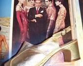 SALE, GATSBY shoes, Gold Peep Toe, Slingback shoes, size 6
