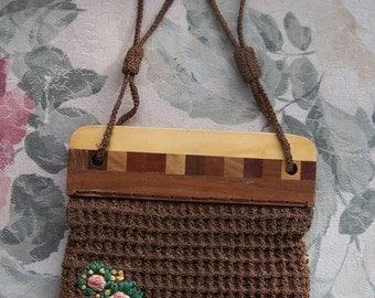 1930s Handbag, Arts and crafts, Crochet Handbag, Wood frame bag, Brown crochet bag, embroidered bag