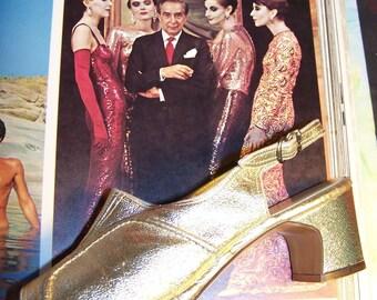 6 GATSBY shoes Peep Toe Gold Slingback