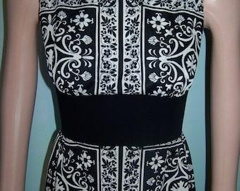 SALE, Damask Tunic, Damask Dress,  Black & white maxi,  Mod black Dress,  60s mod dress,  size S