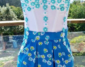 Floral Dress, Party dress, Strapless Dress, Corset dress, Summer dress, Daisy dress, size XS