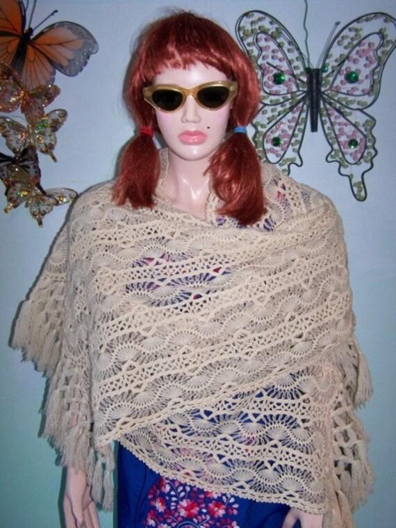 Crochet shawl wrap ivory