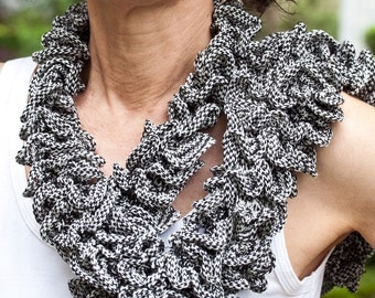 Hand Knitted Ruffle Scarf Neck Warmer Black and White Tweed Ruffles (Hand Knit)