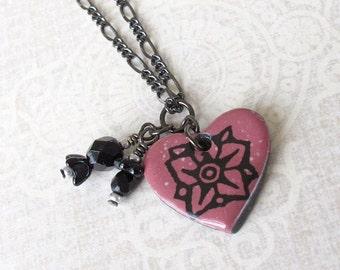 Wildflower Necklace. Berry Red Glaze on Black Porcelain Heart. Crimson. Ruby. Raspberry. Gunmetal Chain. Black Glass Beads. Woodland Flower