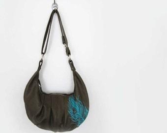 PLEATED HOBO - olive green leather hobo purse - crossbody bag - customizable hobo bag - leather handbag - cross body hobo - leather bag