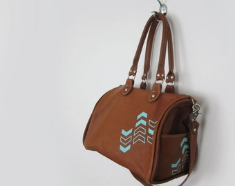 SATCHEL - leather satchel bag - chevron leather bag - toffee brown leather bag - geometric bag - crossbody bag - leather purse - handbag