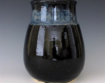 Medium Vase.  Black & Turquoise. Speckled Mix of Colors. Northern Lights. Aqua.