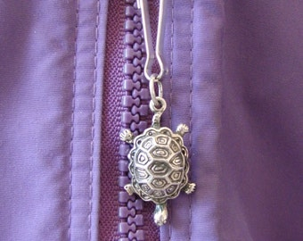 Turtle Zipper Pull - Sterling silver