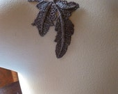 3 Lace Appliques in Mocha Venise Lace for Headbands, Bridal, Embellishment, Scrapbooking, Costume or Jewelry Design