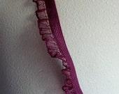 7 yds. Merlot Elastic with Ruffled Organza  in Burgundy for Lingerie, Garments