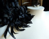 Black Silk Flower Large Chrysanthemum with Feathers for Grad, Bridal, Corsages, Floral Supply
