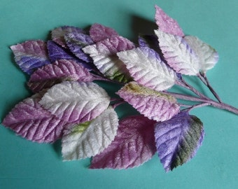 Velvet Millinery Leaves in Mauves and Purples for Hat, Jewelry or Costume Design, Floral or Millinery Supply