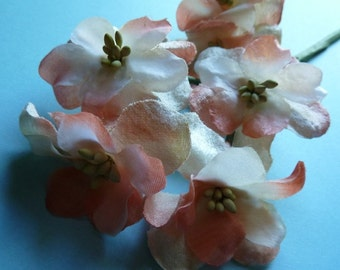 SALE Peach Flowers, Organdy & Velvet Millinery for Bridal, Boutonnieres, Hats, Headbands MF 236