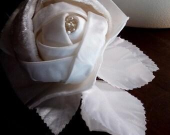 Velvet Millinery Rose in Cream Velvet and Satin for Bridal Fascinators, Corsages, or Sashes, Costumes MF 126