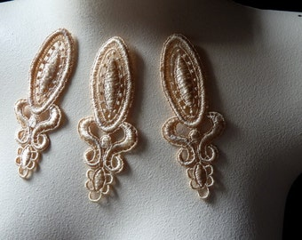 SALE 3 Lace Appliques in Golden Blush Venise Lace for Bridal, Jewelry, Costume Design CA 727