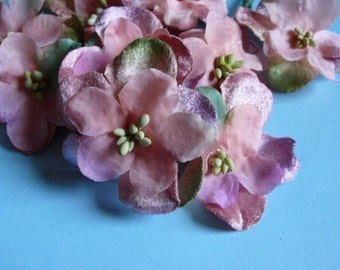 Peach Organdy & Velvet Millinery Flowers in Peach, Mauve and Green for Bridal, Hats, Headbands MF 236