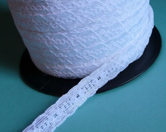 5 yds. WHITE Stretch Lace. Narrow for Lingerie,  Headbands, Bridal Garters STR  1307