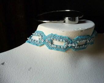 Aqua Beaded Trim 1/2 yd  Lace Applique Trim for Lyrical Dance, Bridal, Headbands  BL 4008aq