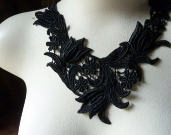 Black Lace Applique for Jewelry or Costume Design, Altered Couture BLA 476