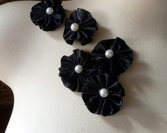 SALE 5 Black Appliques Satin Ruffled with Pearl Centers for Lyrical Dance, Garters, Headbands, Costumes