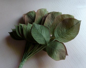 Vintage Silk Leaves 36 Rose Leaves German on Triple Leaf Stems in Green for Bridal, Millinery or Costume Design  ML 131