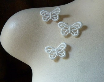 3 Butterfly Appliques Small size in Ivory  Venise Lace American made for Bridal, Headbands, Gift Wrap, Crafts AM 1