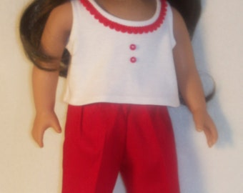 18 inch Doll Top with Red Trim