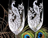 2 Peacock Wedding Champagne Glasses, Wedding Champagne Flutes, Toasting Flutes