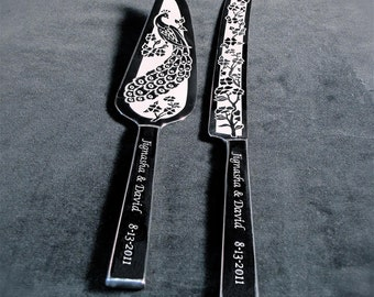 Personalized Wedding Cake Server Knife Engraved Peacock Decor, Table Settings for Peacock Themed Wedding