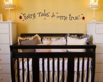 Fairy Tales vinyl wall decal, nursery room decor, Fairy Tales do come true with star accents