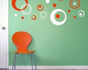 Gear Wall Decals, Midcentury Modern style, geometric circle decor, wall pattern sticker set