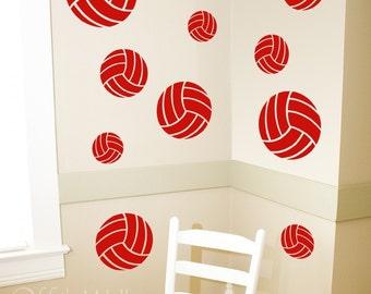 Set of Ten Volleyballs vinyl decals, team sports,