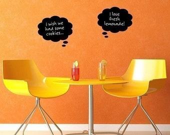 Chalkboard vinyl stickers, Chalk Thoughts, bedroom decor, wedding prop, dorm room decal