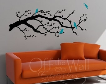 Contemporary Cherry Blossom Branch with Birds vinyl decal, modern wall art, nursery bedroom