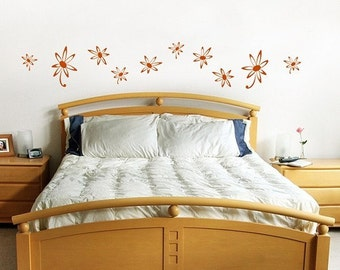 Funky Flowers  Wall Stickers, fun retro, dorm decor, girls room