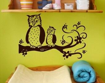 Owl Wall Decal, nursery wall art, child vinyl decal, Owls on a branch, children's decor, kids room decor