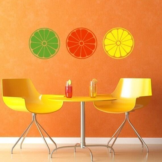 Citrus wall art decals, orange lemon lime vinyl decals, summer wall decals, decor for summer, kitchen decals.