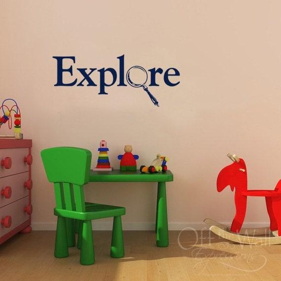 Explore, kids vinyl decal, children's bedroom sticker, magnifying glass, teacher decals