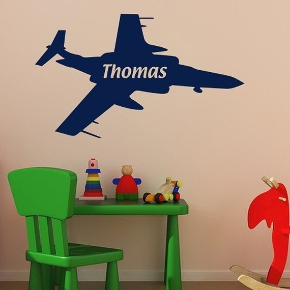 Personalized Jet Fighter - vinyl wall art - decal sticker - plane wall decal - boys wall decal - airplane decal - playroom decal