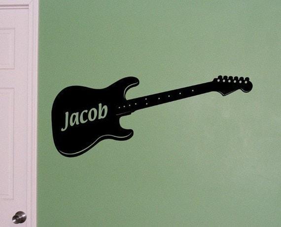 Guitar wall decal - personalized decor for boys bedroom - guitar monogram - wall art sticker - boy or girl guitar decor