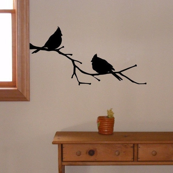 Cardinals on a Branch wall decal, nature stickers state bird