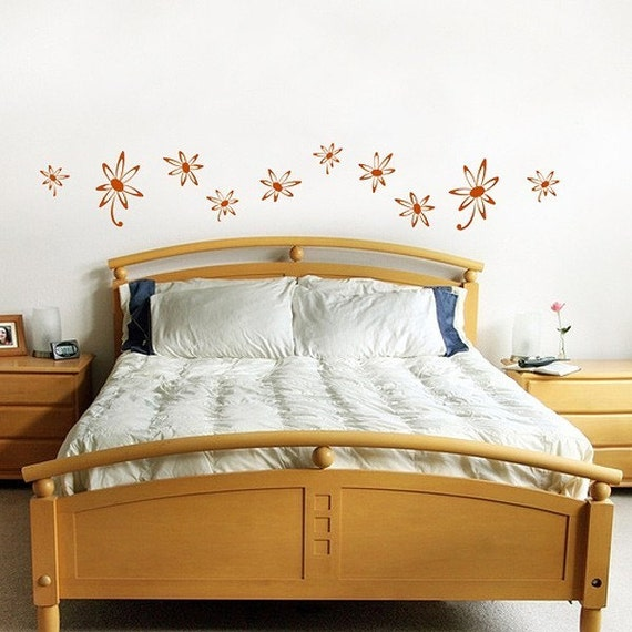 Funky Flowers  Wall Stickers, fun retro, dorm decor, girls room