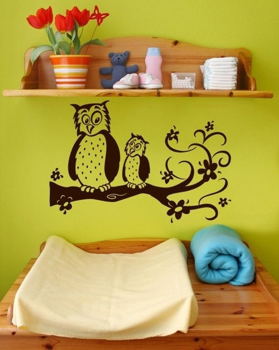 Owl Wall Decal,  nursery wall art, children's room vinyl decal, Owls on a swirly branch, children's decor