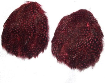 Dark Red Feather Pads, Lot of 2 Dotted Pads, Pair of Speckled Guinea Hen Feather Pads..Black and Red Wine Dots
