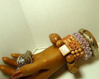 SALE, Bracelet Lot of 5, WOOD, Plastic, Silver and Gold, Cuffs, Snap Hinged, Metal Assorted, 1960s to  1980s