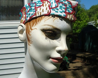 NEHRU Hat, 1960s, Hippie Beaded Embroidered Cap, White, Gandi Homespun Cotton, Glass Seed Beads in Green Red and Gold