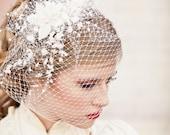 birdcage veil with vintage flower spray, modern veil, wedding headpiece