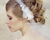 Wedding Veil Tie Headband of Net and Vintage Flowers Wedding Hair Accessory, Veils, Bridal Veil Flower Headband with Veil, wedding veil