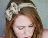 Gold bow sash style headband, adult headbands, women acessory hair